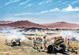 Live Firing, Palestine, 75mm Howitzers of 210 Battery, 53rd Airlanding Light Regiment Royal Artillery, September 1946.