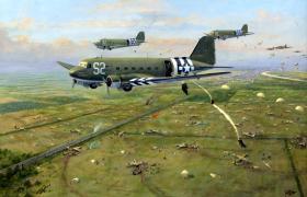 Dakotas dropping on Renkum Heath – first day of the Battle of Arnhem, 17 September 1944 by Geoffrey E Lea.