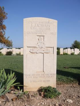 Headstone of Bdr LJ Roberts, Bari War Cemetery, November 2011.