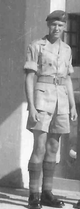 Pte Tarbin, ready for garrison guard mount, Moascar Egypt, 1954.