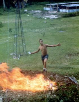'Bob' Hilton burning out the trenches at Salamanca Camp, Belize, 1983.