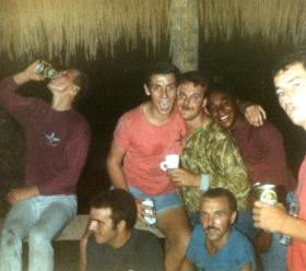 An evening off duty for members of A Coy, 2 PARA, Belize, 1983.