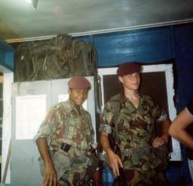 'Bob' Hilton and Dean Ward, A Coy ops room, Belize, 1983.