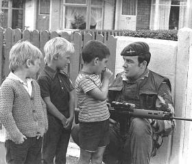 Pte Mark O'Connell on patrol in the Ardoyne, 1975.