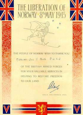 Driver Bell's Liberation of Norway Certificate, 1945.