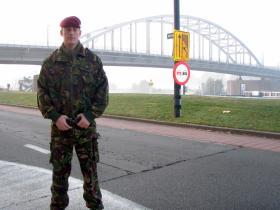 Cpl Ben Hardaker at the Frost Bridge, Arnhem, date unknown.