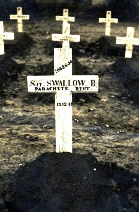 Original grave maker on the grave of Sgt B Swallow, Arnhem, Oosterbeek Cemetery, October 1945.