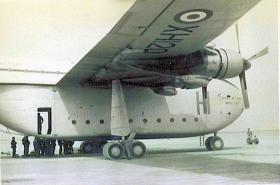 Members of 7 Para Lt Regt RHA preparing to emplane a Beverley, c1963.