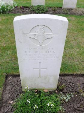 Headstone of Pte Robert Bickerton, Reichswald Forest War Cemetery, 2010.