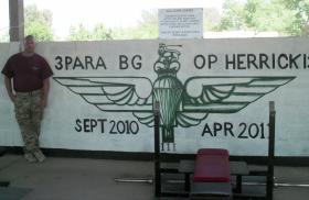 Sgt McGrail at 3 PARA's gym, Op Herrick XIII. 2012.