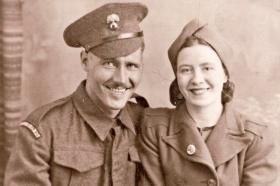 Bill Joyce with his wife on joining Grenadier Guards