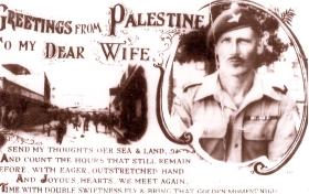 Postcard sent by Bill Joyce to his wife from Palestine