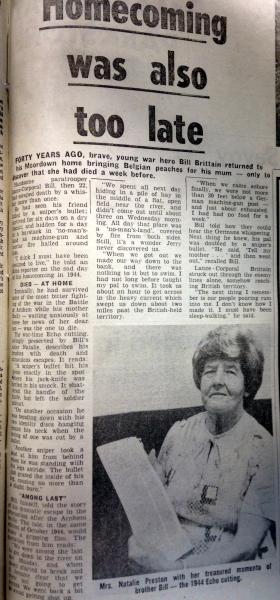 Article about L/Cpl Brittain, from the Bournemouth Echo, 29 August 1984.