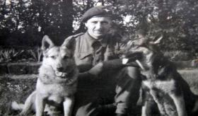 Cpl Walton with two Para Dogs, Mattenburg, Germany, May 1945.
