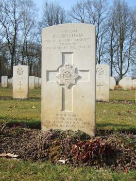 Grave of Lance Corporal Bingham, Hotton War Cemetery, Belgium, March 2015.