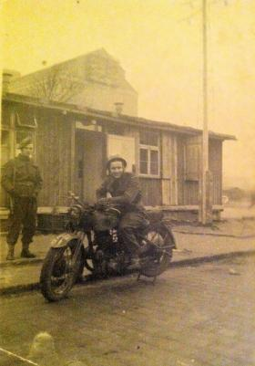 Pte Harold Black on guard duty with unknown despatch rider, Germany