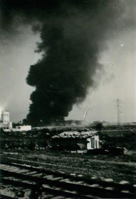 Blown up oil tanks north of Haifa 1947.