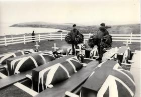 Blue Beach Military Cemetery. San Carlos. Falklands 1982.