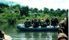 12 Platoon, D Coy Group, 2 PARA, boat patrols in Sierra Leone, May 2000.