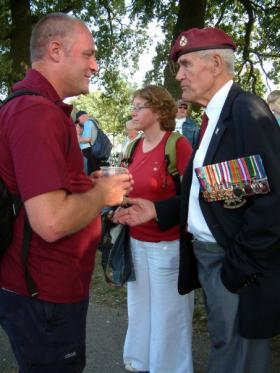 Bob Hilton with Ron Jordan, 1st Abn Div REME, at Oosterbeek, September 2009.