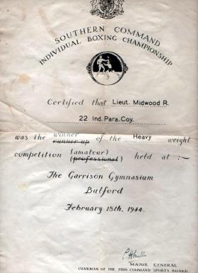 Lt R Midwood's Boxing Certificate, February 1944.