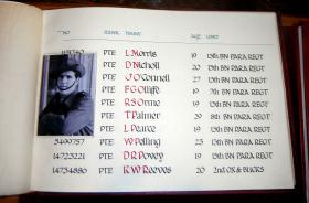 Entry for Pte Walter Pelling in the  Book of Remembrance, in the Church at Bure, date known.