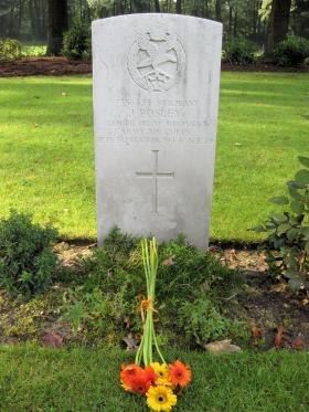 Headstone for Sgt J Bosley, Arnhem Oosterbeek War Cemetery, 2011