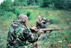 Eddie Edmunds and Sean Statham, Range Day, Bosnia, 2000.