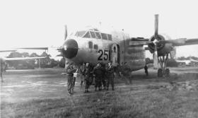Members of D Coy 14 PARA around a USAF Fairchild C119 Boxcar.