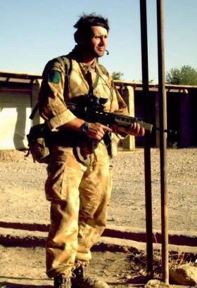 Cpl Brian Budd on patrol, Afghanistan, 2006