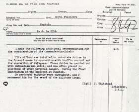 Captain Hill's citation for the MC, Royal Fusiliers, 1940.