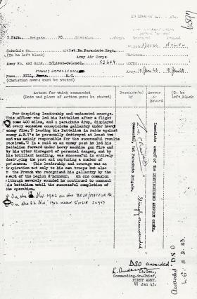 Citation for the award of the DSO to T/Lt-Col Hill, 1943.