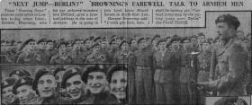 'Browning's Talk to the Men of Arnhem', Evening News, December 1944.