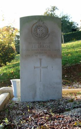 Headstone of Pte J Leach, Brucourt Churchyard Cemetery, October 2013.