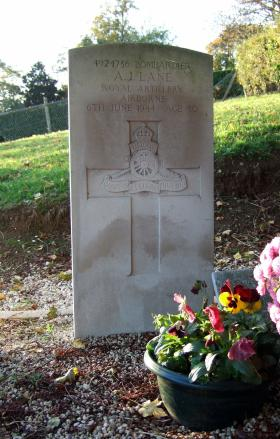 Headstone of Bdr A Lane, Brucourt Churchyard Cemetery, October 2013.