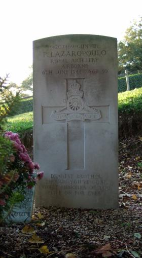Headstone of Gnr Lazaropoulo, Brucourt Churchyard Cemetery, October 2013.