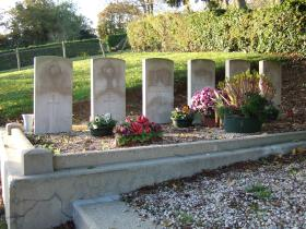 The six Commonwealth burials at Brucourt Churchyard Cemetery
