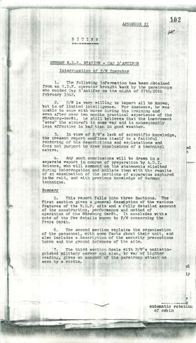 Security information given by captured German about radar.
