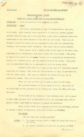 Bruneval briefing order by Major Frost including enemy information, 1942.