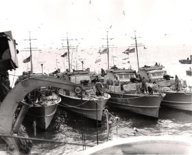 The flotilla of fast Motor Launches which brought the raiding party back, Bruneval, 1942.