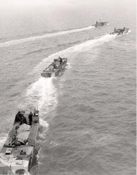 Landing craft and crews in training for Bruneval, 1942.