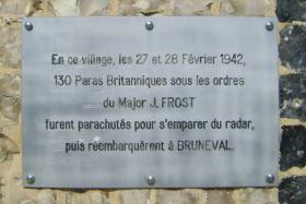 Memorial sign for the Bruneval Raid at La Poterie Cap d'Antifer on the City Hall wall, 2011.