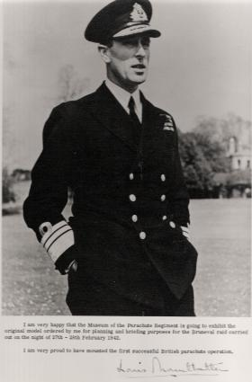 Note from Lord Louis Mountbatten concerning the planning model for Bruneval, undated.