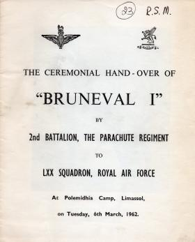 The ceremonial handover of Bruneval I from 2 PARA to the RAF, 1962.