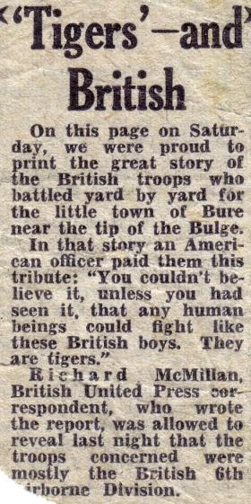 Newspaper (unknown) cutting, 1945.