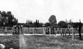Funeral service of seven members of 5th Parachute Battalion, Ramleh War Cemetery 27 April 1946