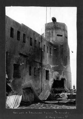 Burnt out Police Station, Palestine, 1946.
