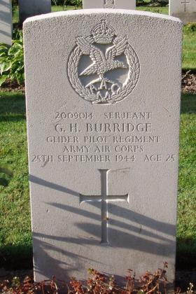 Headstone of Sgt GH Burridge, Arnhem Oosterbeek War Cemetery, 2009.