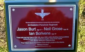 Memorial for Privates Burt, Grose and Scrivens at the National Memorial Arboretum.