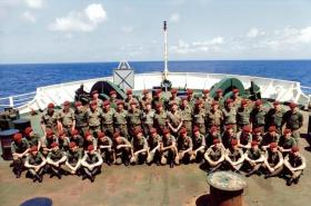 C Company, 2 PARA, MV Norland, en route to the Falklands, May 1982.